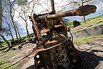 Photo shows a tank gun used by Imperial Japanese Army soldiers near Asleto airport in Saipan on 22 February 2011. .Photographer: Robert Gilhooly
