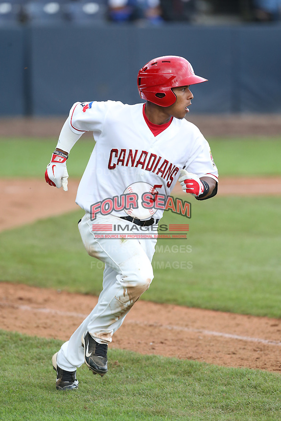 Alexis Maldonado #5 of the Vancouver Canadians runs the bases during a game against the Hillsboro Hops at Nat Bailey Stadium on July 24, 2014 in Vancouver, British Columbia. Hillsboro defeated Vancouver, 7-3. (Larry Goren/Four Seam Images)