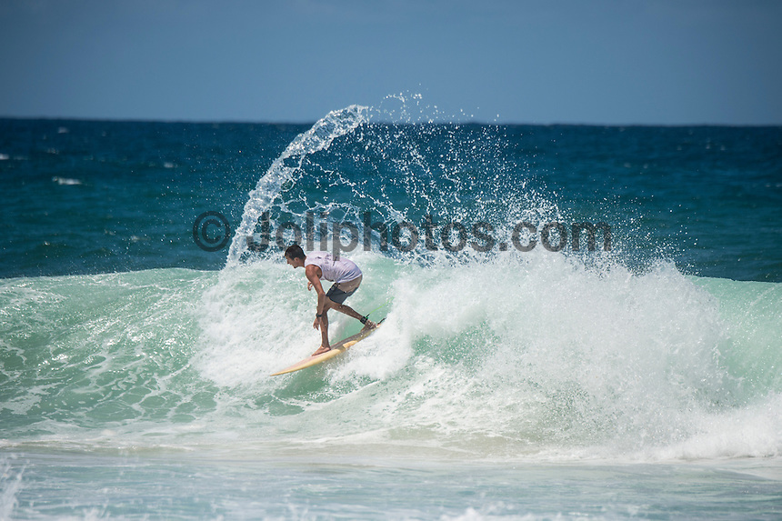Burleigh Heads, Queensland, Australia. (Sunday, January 8, 2017) Jarrod Sunderland (AUS) - With thousands of people packing out the headland at Burleigh Heads Joel Parkinson (AUS) took out the 2017 Burleigh Boardriders&rsquo; Single Fin Classic.<br /> <br /> The former world champion and current world number nine surfer battled against young up and comers and older Burleigh stalwarts for two day to win the event in front of a crowd of over 3000 people.<br /> <br /> &ldquo;This is such an honour, I can&rsquo;t believe how much fun this weekend has been,&rdquo; Parko said later.<br /> <br /> It is the first time Parkinson had entered the event, where competitors surf on single fin pre-1985 surfboards.<br /> <br /> There is no prize money offered, so surfers battle for the prestige of the event, which has now been running for 20 years.<br /> <br /> North End Boardrider Luke Hynd (AUS) came second in the event with Burleigh Boardrider James Lewis (AUS) coming in third.<br /> <br /> Up-and-coming Burleigh surfer Maddy Job (AUS) took out the junior division. Photo: joliphotos