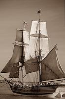 Tall Ship Lady Washington, Class A, Div. II brig under sail, taken from port side at Tall Ships Festival 2002 Steveston BC