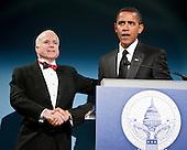 Washington, DC - January 19, 2009 -- United States President-elect Barack Obama greets United States Senator John McCain (Republican of Arizona), the Republican presidential nominee, at a bi-partisan dinner honoring McCain in Washington, D.C., U.S., Monday, January 19, 2009.   .Credit: Joshua Roberts - Pool via CNP
