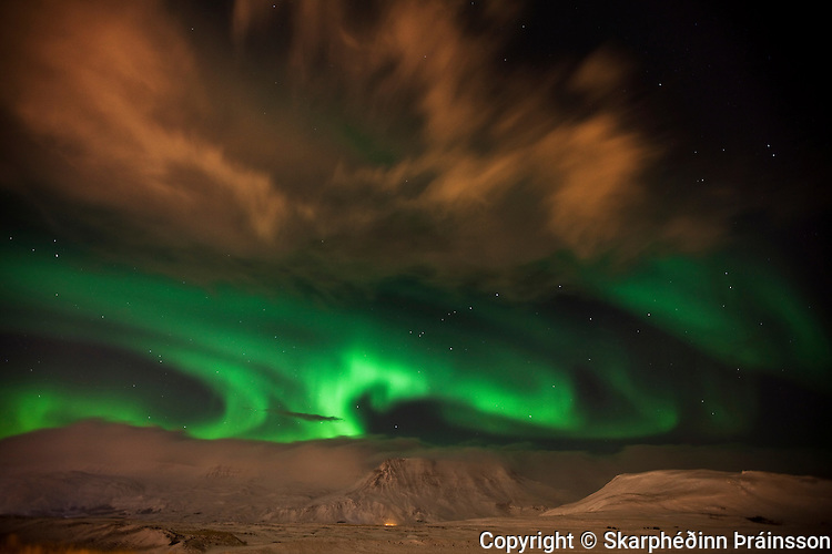 Night display over mountain Esja, southwest Iceland
