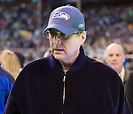 Seattle Seahawks owner Paul Allen walks to the Seahawks side of the field in their game against the Baltimore Ravens at CenturyLink Field in Seattle, Washington on November 13, 2011. The Seahawks beat the Ravens 22-17.  ©2011 Jim Bryant Photo. All Rights Reserved.