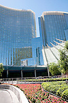 USA Las Vegas, Aria resort on the Strip, with its emphasis on design and outdoor pools. Exterior design at front of resort.