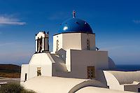 Blue domed  Orthodox church, Fira, Santorini