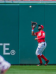21 June 2015: Washington Nationals outfielder Denard Span pulls in a 3rd inning fly ball during action against the Pittsburgh Pirates at Nationals Park in Washington, DC. The Nationals defeated the Pirates 9-2 to sweep their 3-game weekend series, and improve their record to 37-33. Mandatory Credit: Ed Wolfstein Photo *** RAW (NEF) Image File Available ***