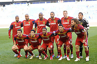 Real Salt Lake starting eleven. The New York Red Bulls and Real Salt Lake played to a 0-0 tie during a Major League Soccer (MLS) match at Red Bull Arena in Harrison, NJ, on October 09, 2010.
