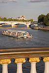 Tourist Boat on the River Seine, Paris, France, Europe