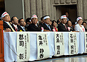 October 26, 2011, Tokyo, Japan - Politicians attend the rally against Japan to take part in the Trans-Pacific Partnership (TPP) negotiations in Tokyo on Wednesday, October 26, 2011. Japan's government is trying to accelerate its decision on whether to join multilateral negotiations for a Pacific-wide trade pact. The TPP is a regional free trade agreement that would in principle eliminate all tariffs within the zone, including on farm products, which have been excluded from Japan's previous free trade deals. Thousands of Japanese farmers marched through central Tokyo to push the government not to join a TPP that will likely hit the nation's small farmers. They are, from left: Shizuka Kamei, chief of the People's New Party, Tadamori Oshima, Vice-President of the Liberal Democratic Party, Noritoshi Ishida, politician of the New Komeito Party, Kazuo Shii, chief of the Japanese Communist Party and Mizuho Fukushima, leader of Japan's Social Democratic Party. (Photo by Natsuki Sakai/AFLO) [3615] -ty-