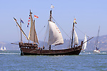 The Niña, a replica of 15th century caravel commanded by Christopher Columbus, sails into San Francisco Bay durring the 2008 Festival of Sail. The ship was built in Brazil using the same tools and techniques the original ship builders would have used. Home ported in Grand Caymen the ship has visited over 300 ports since her maiden voyage in 1991 which inlcuded sailing from Brazil to Costa Rica unescorted to take part in the filming of the movie 1492. Photographed 07/08
