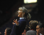 "Ole Miss basketball coach Renee Ladner in a NCAA women's college basketball game at the C.M. ""Tad"" Smith in Oxford, Miss. on Thursday, February 10, 2011.   Mississippi State won 59-43.."