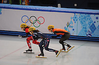 OLYMPICS: SOCHI: Iceberg Skating Palace, 13-02-2014, Shorttrack, Ladies' 500m, Quarterfinals, Marianne St-Gelais (#108 | CAN), Seung-Hi Park (#138 | KOR), Yara van Kerkhof (#144 | NED), ©photo Martin de Jong
