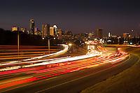 Austin Rush Hour Traffic runs through Downtown Austin, Texas.