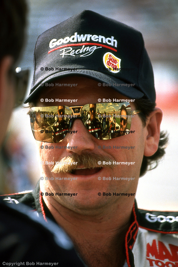 ROCKINGHAM, NC - MARCH 1: Dale Earnhardt at the GM Goodwrench 500 on March 1, 1992, at the North Carolina Motor Speedway near Rockingham, North Carolina.