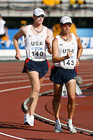 Kevin Eastler(140) and Tim Seaman(143) at the start of the 20k racewalk. Photo by Errol Anderson,The Sporting Image.