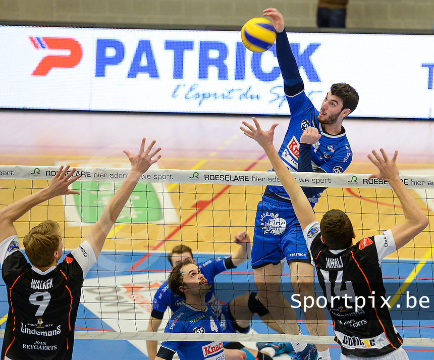 20161228 - ROESELARE ,  BELGIUM : Roeselare's Miquel Angel Fornes pictured in action during the second semi final in the Belgian Volley Cup between Knack Volley Roeselare and Lindemans Aalst in Roeselare , Belgium , Wednesday 28 th December 2016 . PHOTO SPORTPIX.BE | DAVID CATRY