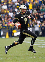 WEST LAFAYETTE, IN - OCTOBER 06: Quarterback Robert Marve #9 of the Purdue Boilermakers rolls out of the pocket to pass against the Michigan Wolverines at Ross-Ade Stadium on October 6, 2012 in West Lafayette, Indiana. (Photo by Michael Hickey/Getty Images) *** Local Caption *** Robert Marve