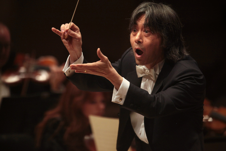 Music Director Kent Nagano with pianist Angela Hewitt performs Sinfonias by Johann Sebastian Bach with the Orchestre Symphonique de Montreal at the Spring for Music festival at Carnegie Hall in Manhattan, New York on May 14, 2011.