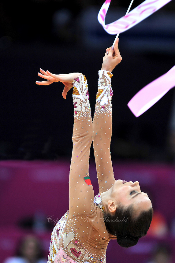 August 10, 2012; London, Great Britain;  LIUBOV CHARKASHYNA of Belarus performs with ribbon on day 2 of rhythmic gymnastics qualifying at London 2012 Olympics.