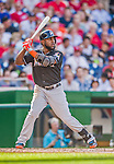 19 September 2015: Miami Marlins outfielder Marcell Ozuna in action against the Washington Nationals at Nationals Park in Washington, DC. The Marlins fell to the Nationals 5-2 in the third game of their 4-game series. Mandatory Credit: Ed Wolfstein Photo *** RAW (NEF) Image File Available ***