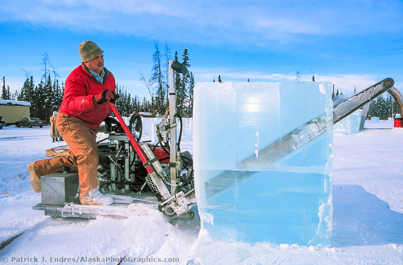 Chainsaw used to cut through thick ice blocks during the World Ice Art Championships held each march in Fairbanks, Alaska