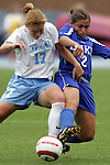 09 October 2005: Carolina's Lori Chalupny (17) and Duke's Carmen Bognanno (2) challenge for a ball in midfield. The Duke Blue Devils defeated the #1 ranked Carolina Tar Heels 2-1 at Fetzer Field in Chapel Hill, North Carolina in a regular season Atlantic Coast Conference women's soccer game.