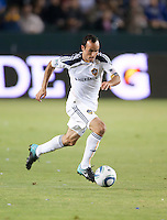 Galaxy midfielder Landon Donovan (10) moves the ball up the pitch during the second half of the game between LA Galaxy and the Columbus Crew at the Home Depot Center in Carson, CA, on September 11, 2010. LA Galaxy 3, Columbus Crew 1.