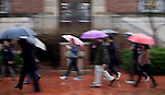 Students, faculty members, and Athens residents march in the rain by Chubb Hall for the Bobcat Unity Walk on Tuesday, Feb. 28, 2017. ©Ohio University / Photo by Kaitlin Owens