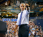 President Obama arrives at rally for Hillary Clinton and democrats at Florida International University Arena on Thursday, November 3, 2016.