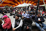 Hundreds of people listens a speech while attending the National Convention against the imposition of Enrique Pena Nieto in San Salvador Atenco, Mexico state, July 14, 2012. More than two thousand people from twenty five states attended the Convention to plan actions in order to prevent Pena Nieto to take office on December 1, 2012 as they accuse him from buying ballots and money laundering during the elections . Photo by Heriberto Rodriguez