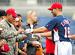 28 September 2010: Washington Nationals' infielder Danny Espinosa signs autographs prior to a game against the Philadelphia Phillies at Nationals Park in Washington, DC. The Nationals defeated the Phillies 2-1 on an Adam Dunn walk-off solo homer in the 9th inning to even up their 3-game series one game apiece. Mandatory Credit: Ed Wolfstein Photo