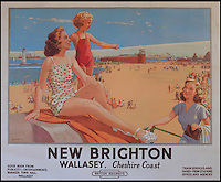 BNPS.co.uk (01202 558833)<br /> Pic: Onslows/BNPS<br /> <br /> ***Please use full byline***<br /> <br /> Well chuffed...Staycation posters from the golden age of steam found under a carpet.<br /> <br /> New Brighton in Cheshire..<br /> <br /> A property developer is celebrating after discovering a &pound;15,000 booty of treasure under a tatty old carpet in a run down property he was renovating in Edinburgh.<br /> <br /> The fascinating set of vintage posters from the golden age of British rail travel were spread under a carpet and in near perfect condition.<br /> <br /> The posters date back to the late 1940s and advertise seaside resorts around the country that could be visited by rail.<br /> <br /> It is thought the collection of 10 posters belonged to a railway worker who used them to line the floorboards of his house in Edinburgh around 60 years ago.<br /> <br /> But despite being worthless then, the posters are now much sought after, and are estimated to be worth at least &pound;1500 each.<br /> <br /> The collection is tipped to fetch &pound;15,000 when it goes under the hammer at Onslows in Blandford, Dorset.