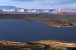 Glen Canyon National Recreation Area Lake Powell sunset light on water and mesa near Page, Arizona State USA