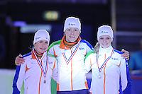 SHORTTRACK: AMSTERDAM: 05-01-2014, Jaap Edenbaan, NK Shorttrack, podium 1000m, Yara van Kerkhof, Jorien ter Mors, Rosalie Huisman, ©foto Martin de Jong