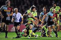 Magnus Lund of Sale Sharks is tackled by Chris Robshaw of Harlequins. Aviva Premiership match, between Harlequins and Sale Sharks on November 6, 2015 at the Twickenham Stoop in London, England. Photo by: Patrick Khachfe / Onside Images