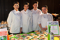 Eastdale Collegiate Institute  culinary students and their instructor with Layered Apple Torte with a Lemon Twist, Frozen Lemon Curd and Whipped Cream at FoodShare Toronto's Recipe for Change, February 28,  2013