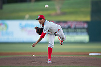Lakewood BlueClaws starting pitcher Ranger Suarez (18) delivers a pitch to the plate against the Kannapolis Intimidators at Kannapolis Intimidators Stadium on April 8, 2017 in Kannapolis, North Carolina.  The BlueClaws defeated the Intimidators 8-4 in 10 innings.  (Brian Westerholt/Four Seam Images)