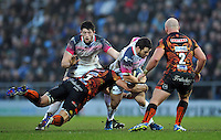 Aaron Jarvis of the Ospreys takes on the Exeter Chiefs defence. European Rugby Champions Cup match, between Exeter Chiefs and the Ospreys on January 24, 2016 at Sandy Park in Exeter, England. Photo by: Patrick Khachfe / JMP