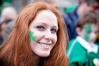 17/3/2011. ST PATRICKS DAY DUBLIN. Aishling O Brien is pictured on College Green enjoying the Dublin St Patricks Day Parade. Picture James Horan/Collins Photos