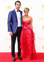 LOS ANGELES, CA, USA - AUGUST 25: Actress Kaley Cuoco and husband Ryan Sweeting arrive at the 66th Annual Primetime Emmy Awards held at Nokia Theatre L.A. Live on August 25, 2014 in Los Angeles, California, United States. (Photo by Celebrity Monitor)