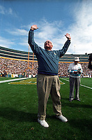 Fuzzy Thurston raises his arms in greeting as his name is announced over the Lambeau Field loud speaker prior to the September 15, 1996 game against the San Diego Chargers. Part of the Packers' commitment to the fans involves bringing back past Packers for an alumni appreciation day.
