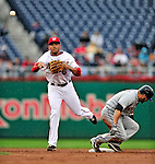 30 September 2009: Washington Nationals' rookie infielder Ian Desmond in action against the New York Mets at Nationals Park in Washington, DC. The Nationals rallied in the bottom of the 9th inning on a Justin Maxwell walk-off Grand Slam to win 7-4 and sweep the Mets 3-game series capping the Nationals' 2009 home season. Mandatory Credit: Ed Wolfstein Photo