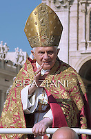 Pope Benedict XVI attends the Palm Sunday procession in Saint Peter's square at the Vatican, on April 17 2011.