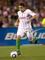Chivas de Guadalajara forward Omar Arellano moves in on the goal. Chivas USA and CD Chivas de Guadalajara played to a 0-0 draw at Petco Park stadium in San Diego, California on Tuesday September 14, 2010.