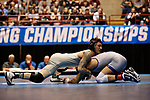 LA CROSSE, WI - MARCH 11: Jay Albis of Johnson & Wales tangles up with Nathan Pike of NYU in the 133 weight class during NCAA Division III Men's Wrestling Championship held at the La Crosse Center on March 11, 2017 in La Crosse, Wisconsin. Pike beat Albis with a fall to win the National Championship. (Photo by Carlos Gonzalez/NCAA Photos via Getty Images)