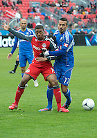 20 October 2012: Montreal Impact defender Dennis Iapichino #17 and Toronto FC midfielder Reggie Lambe #19 in action during an MLS game between the Montreal Impact and Toronto FC at BMO Field in Toronto, Ontario Canada. .The ended in a 0-0 draw..
