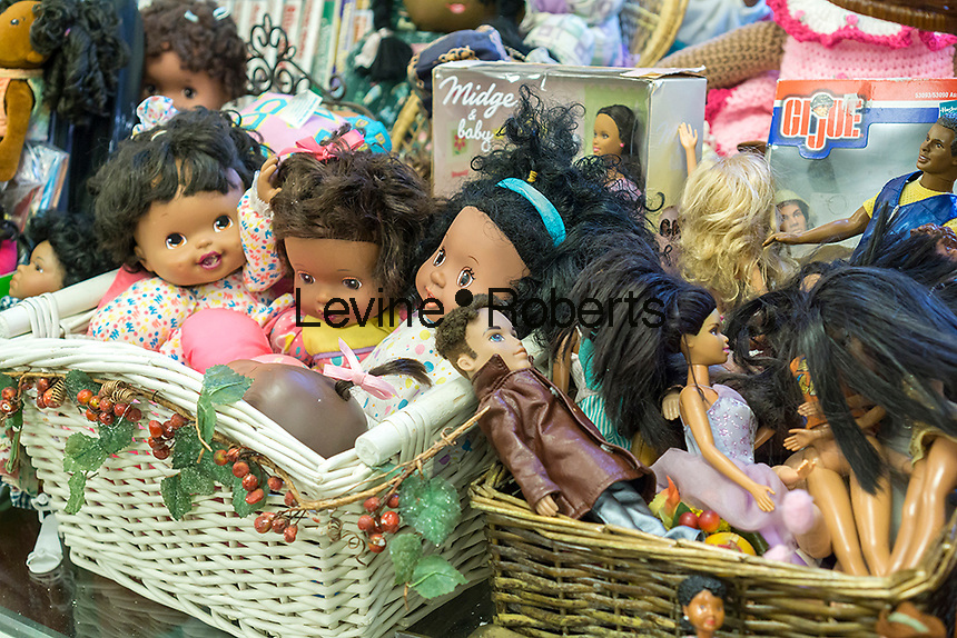 A collection of African-American dolls in the Brownsville Heritage House in the Brownsville neighborhood of Brooklyn in New York on Saturday, May 7, 2016.  (© Richard B. Levine)