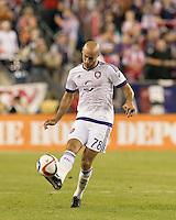 Foxborough, Massachusetts - September 5, 2015: In a Major League Soccer (MLS) match, the New England Revolution (blue/white) defeated Orlando City SC (white), 3-0, at Gillette Stadium.
