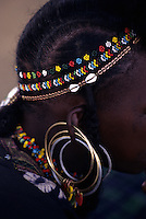 Akadaney, Central Niger, West Africa.  Fulani Nomads.  Young Woman's Ear Rings, Necklace, and Head Band
