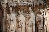 .South Porch, Right Portal c. 1194-1230,  Cathedral of Notre Dame, Chartres, France. Gothic statues of from left to right they are .Statues- Martin, Jerome , Gregory and Avit . A UNESCO World Heritage Site.